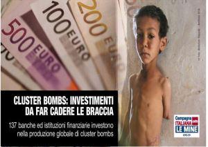 Postcard van de Italiaanse campagne tegen investeringen in clustermunitie