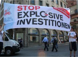 Duitse campaigners in actie voor Deutsche Bank