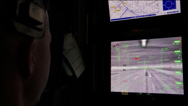 Film still from documentary ' DRONE', depicting the work station of a drone operator.